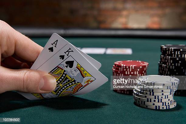 close up of blackjack in casino - gambling stock pictures, royalty-free photos & images