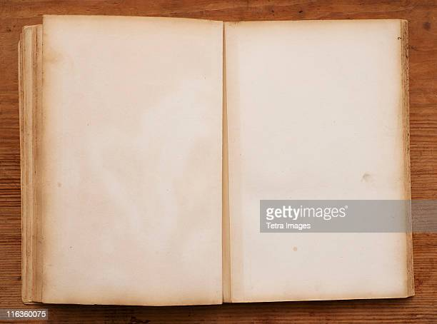 Close up of blank pages in antique book