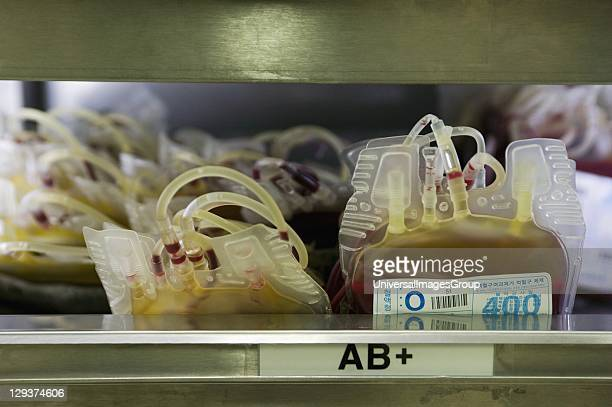 Close up of blood bags containing type AB blood