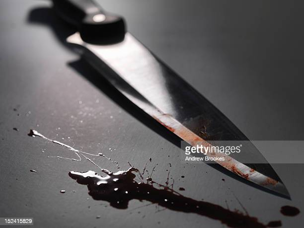 Close up of bloody knife