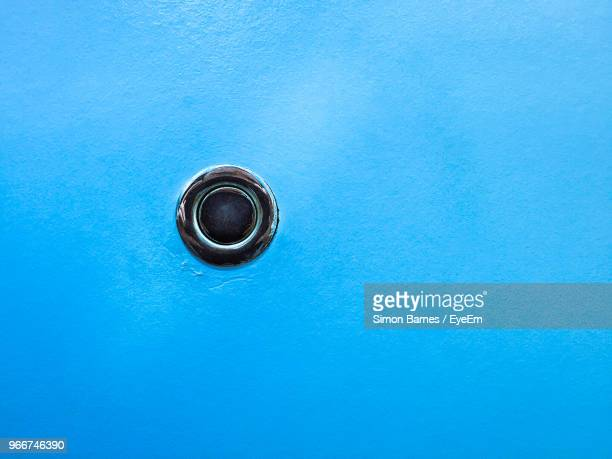 Close Up Of Blue Door Peephole