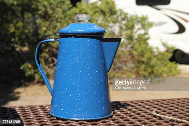 Close Up Of Blue Jug On Table