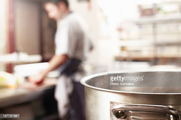 Close up of boiling pot in kitchen