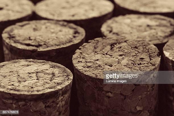 Close up of bottle corks