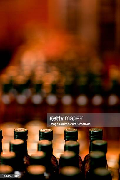 Close up of bottles in grocery