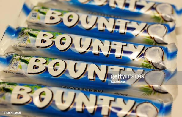 Close up of bounty chocolate bar.