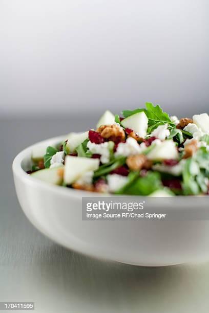 Close up of bowl of chopped salad