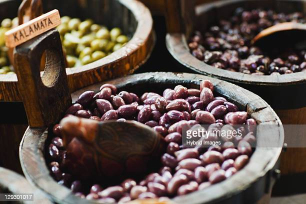 close up of bowl of kalamata olives - kalamata olive stock photos and pictures