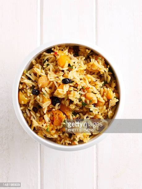 Close up of bowl of rice and vegetables