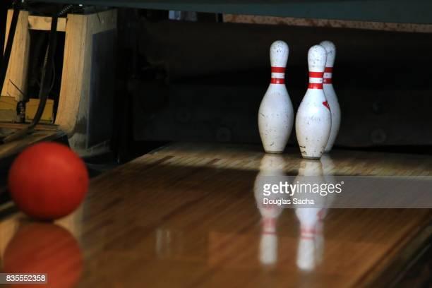 Close up of bowling Pins and ball