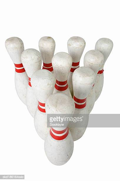 Close up of bowling pins