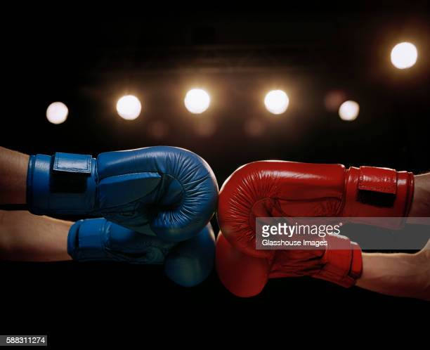 close up of boxers touching boxing gloves before fight - boxing bildbanksfoton och bilder