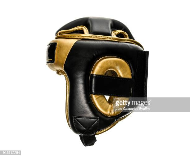close up of boxing helmet against white background - headwear stock pictures, royalty-free photos & images