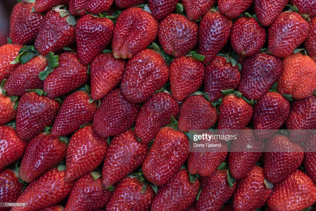 Close up of bright red packed strawberries : Foto de stock