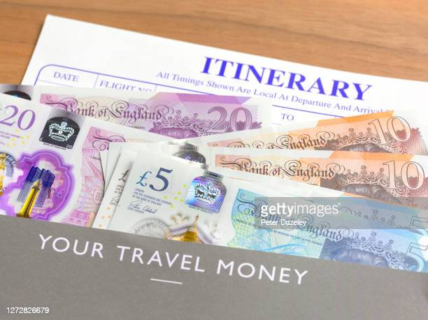 Close up of British Currency in Travel Wallet on September 16,2020 in London,England.