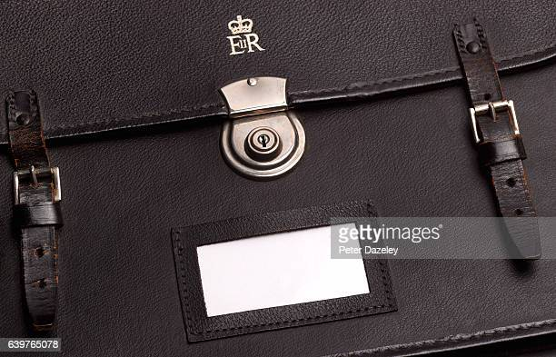 A close up of British government ministers briefcase with blank tag on January 18 2017 in London