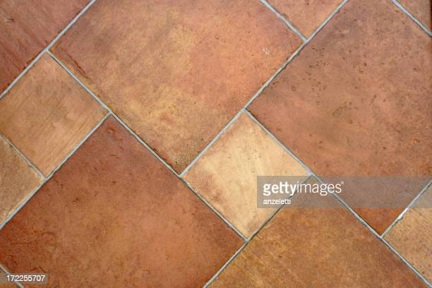 Close up of Brown terracotta tiles