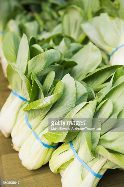 Close up of bunches of leeks