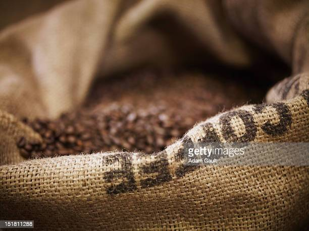 Close up of burlap sack with coffee beans