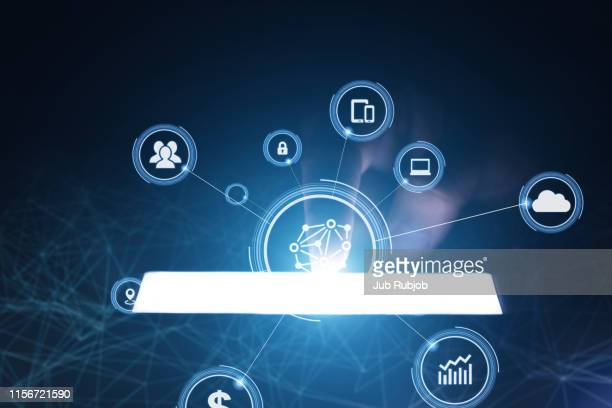 close up of business and smartphone with cloud of colorful application icons, business software and social media networking service concept - media_(communication) stock pictures, royalty-free photos & images