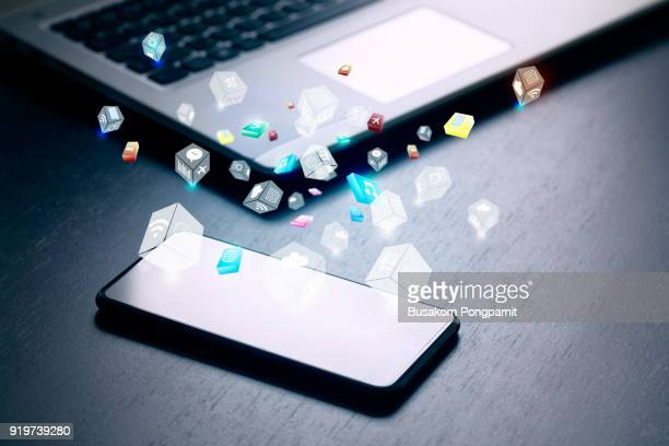 close up of business and smartphone with cloud of colorful application icons, business software and social media networking service concept - mobile app stock pictures, royalty-free photos & images