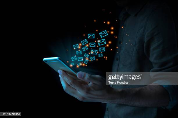 close up of business man using mobile smart phone sending email - mail stock pictures, royalty-free photos & images