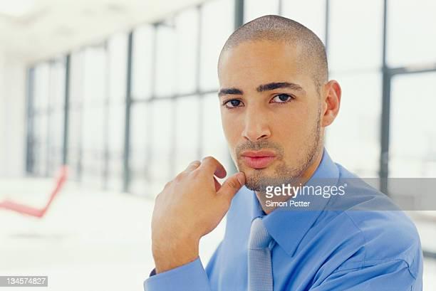 Close up of businessman's face