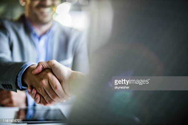 close up of businessmen came to an agreement in the office. - trust stock pictures, royalty-free photos & images