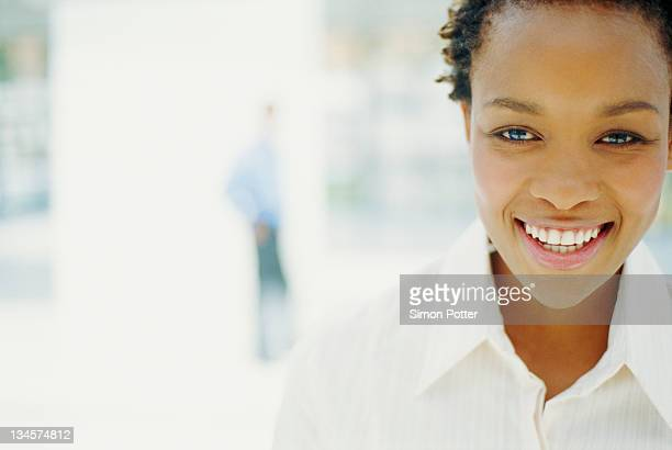 Close up of businesswoman's smiling face