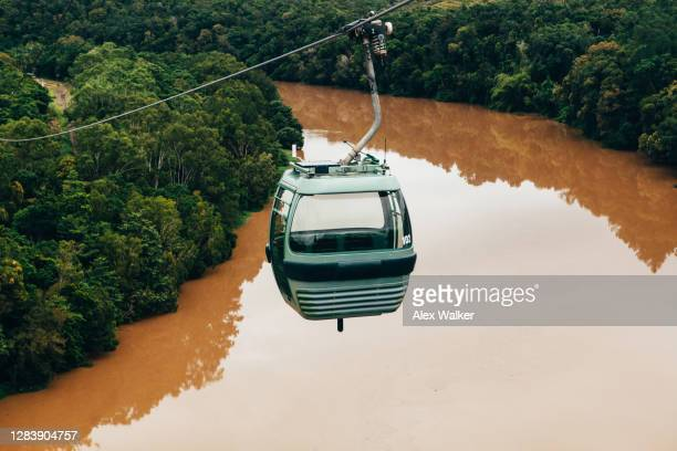 close up of cable car over river - クランダ ストックフォトと画像