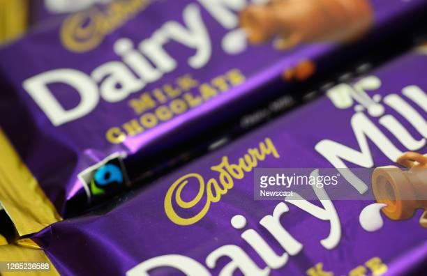 Close up of cadburys dairy milk chocolate bar.