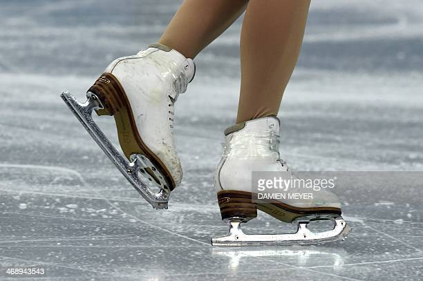 Close up of Canada's Paige Lawrence skating shoes as she performs the Figure Skating Pairs Free Program at the Iceberg Skating Palace during the...