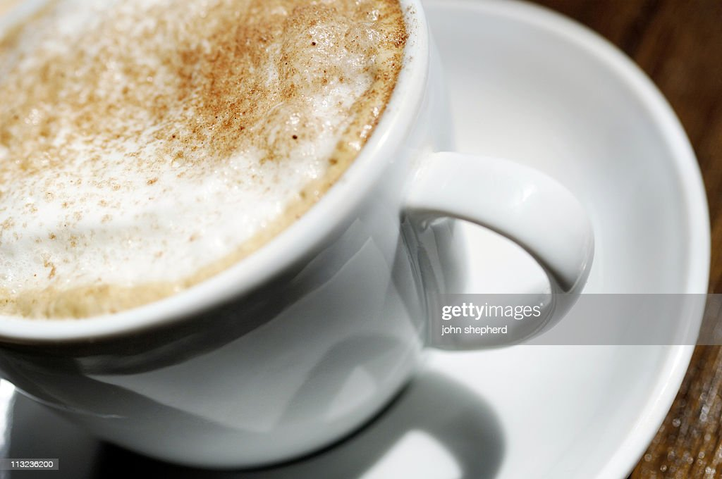 Close Up Of Cappuccino Foam Coffee Milk Froth In Cup High ...