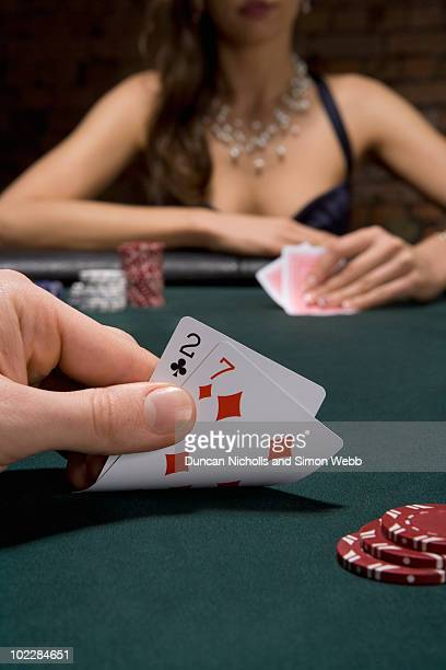 Close up of cards in casino