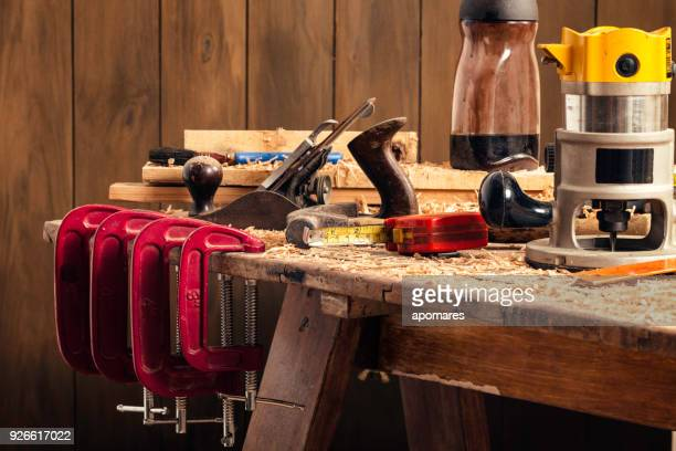 Close up of carpentry tools on a home workbench