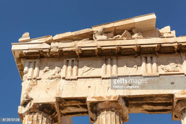 Close up of carved stone pediment of the Parthenon at the Acropolis, Athens, Greece