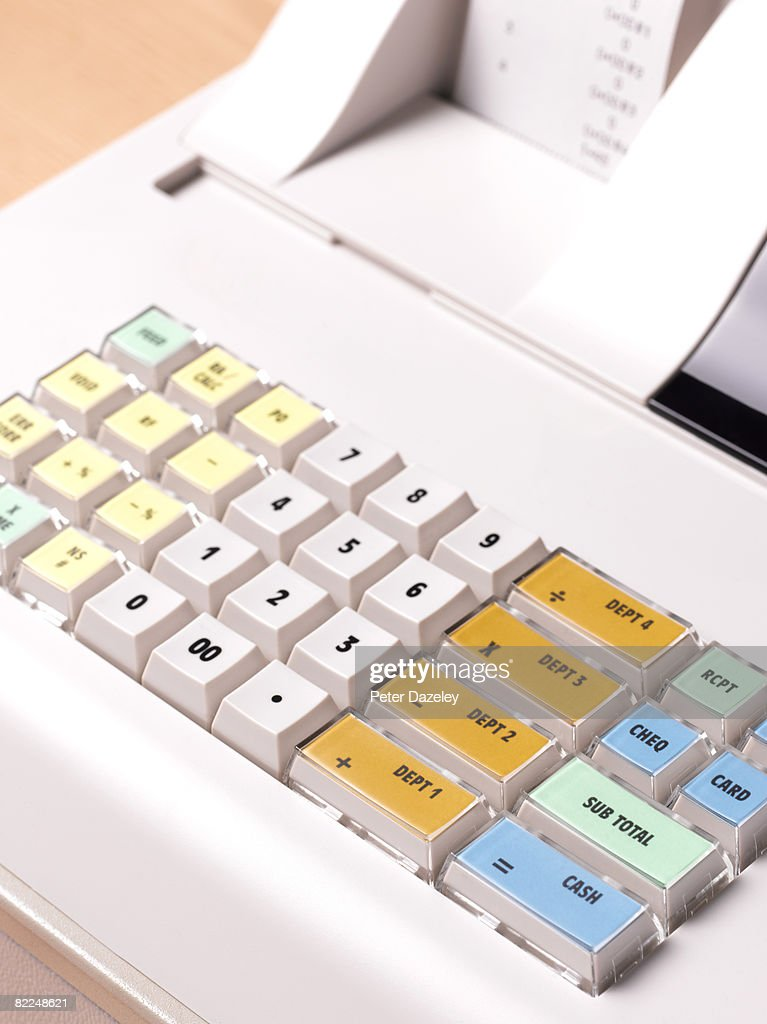 Close up of cash register, view from above : Stock Photo