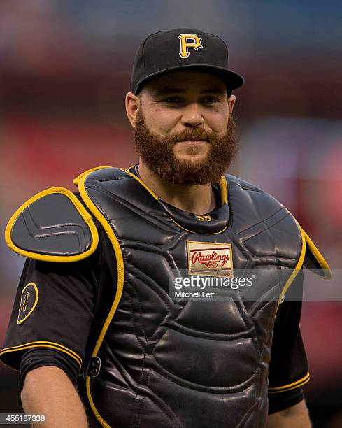 A close up of catcher Russell Martin of the Pittsburgh Pirates prior to the game against the Philadelphia Phillies on September 8 2014 at Citizens...