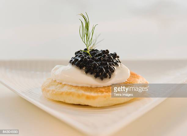 Close up of caviar appetizer