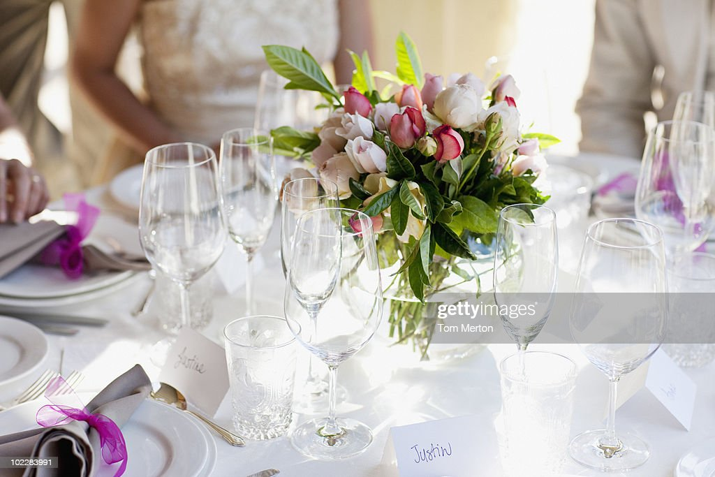 Close up of centerpiece at wedding reception : Stock Photo