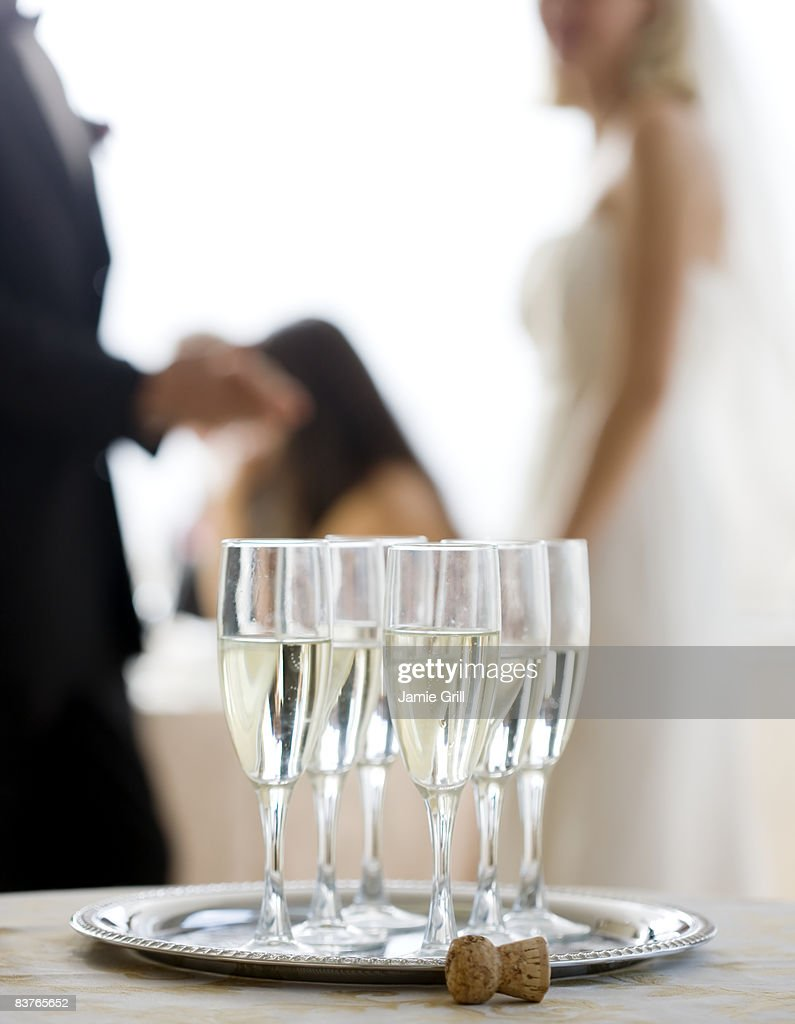 Close up of Champagne glasses at wedding reception : Stock Photo