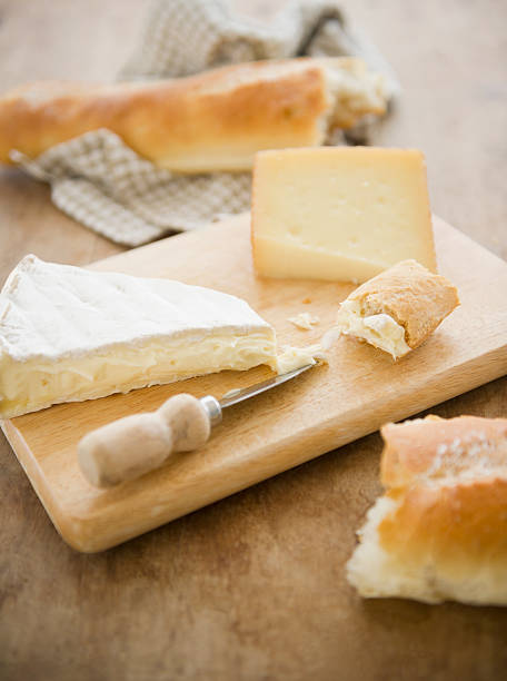 Close Up Of Cheese And Baguette On Table, Studio Shot Wall Art