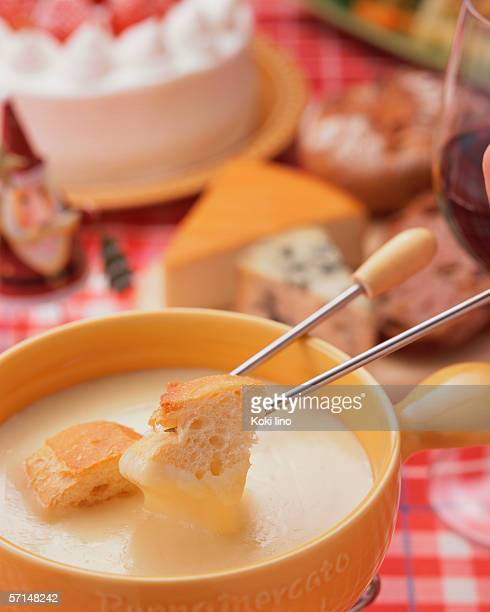 Close up of cheese fondue