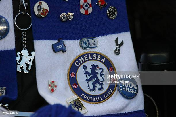 Close up of Chelsea football club pin badges