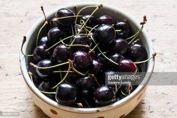 close up of cherries (prunus cerasus) in bowl - susanne ludwig stock pictures, royalty-free photos & images