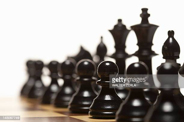 Close up of chess pieces on board