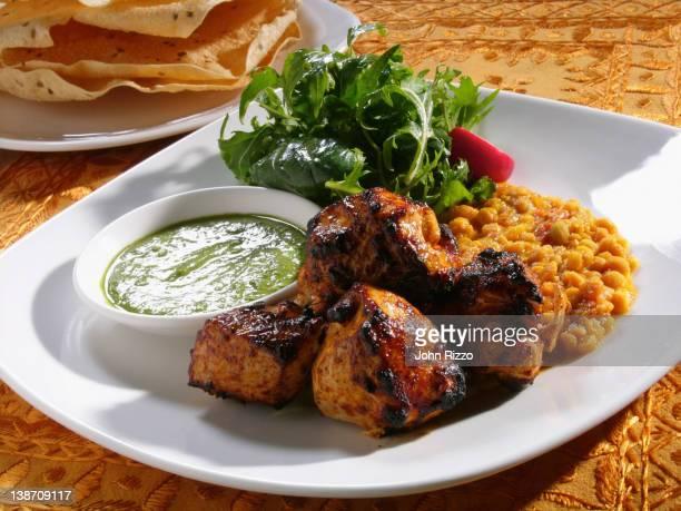 Close up of chicken tandoori entree