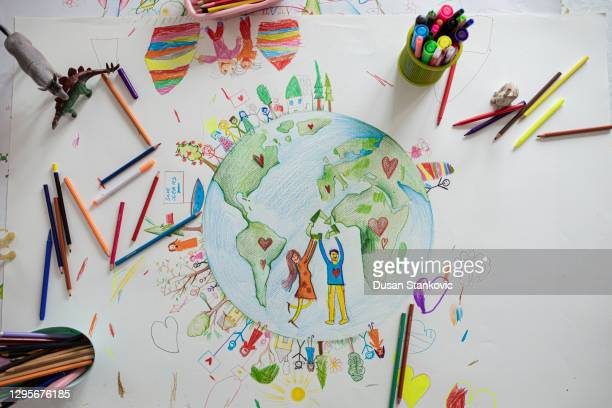 close up of child drawing - earth day stock pictures, royalty-free photos & images