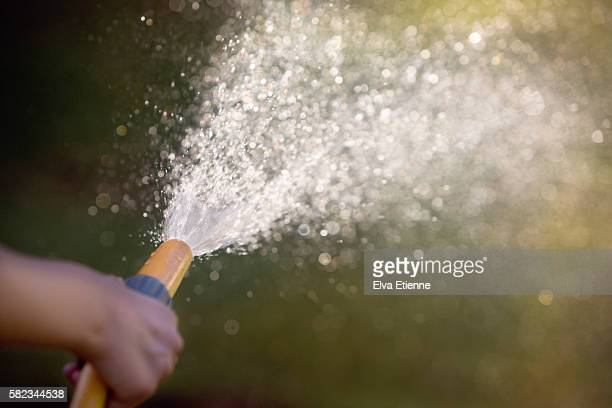 Close up of child using garden water hose