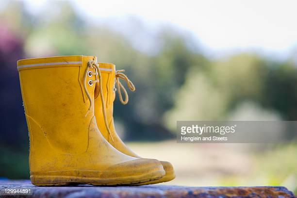 Close up of child's rainboots